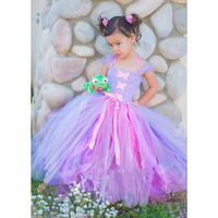 Princess Rapunzel Girl Tutu Dress Ankle Length Bow Knot Ribbons Girls Birthday Party Tutu Dresses Baby