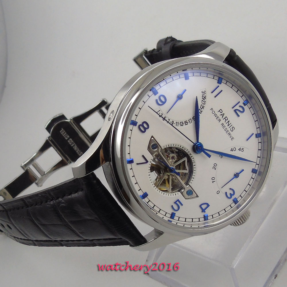 Newest Hot 43mm parnis white Dial Blue Mark Black Leather Deployment SS Case Power reserve Automatic Movement men's Wristwatches цена