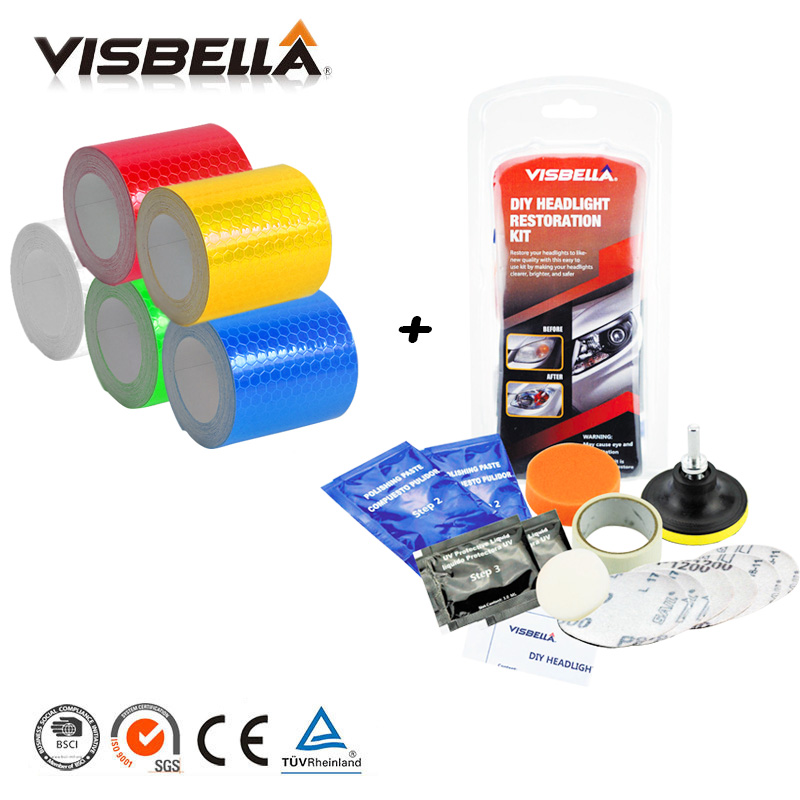 5cmx3m Safety Mark Reflective sticky tape Adhesive Warning Tape and Headlamp Restoration Kit DIY for Car styling Headlamp Clean 5cmx3m small shining self adhesive reflective warning tape with yellow black colorttwill printing for car and motorcycle