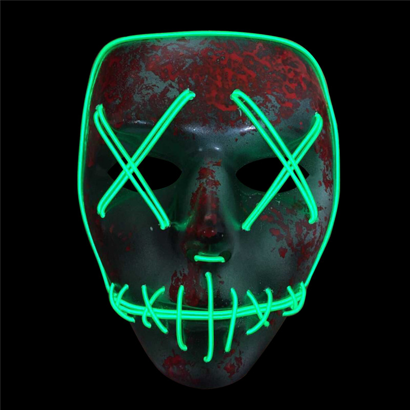 Creative Halloween SKELETON Shaped LED Flashing Mask Horror Fluorescent EL Wire LED Light Awesome Glow Mask Party Cosplay Props