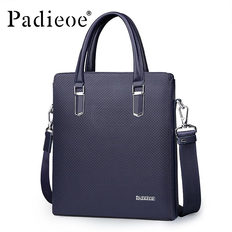 Padieoe New Arrival Business Men's Messenger Bag High Quality Durable PVC Shoulder Bag Hot sale Luxury Plaid Design Handbags redfox сумка full size business messenger 1000 черный