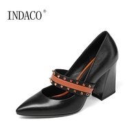 2018 New Women S Leather Mary Jane Green Pumps Rivets Pointed Toe High Heel Thick Pointed