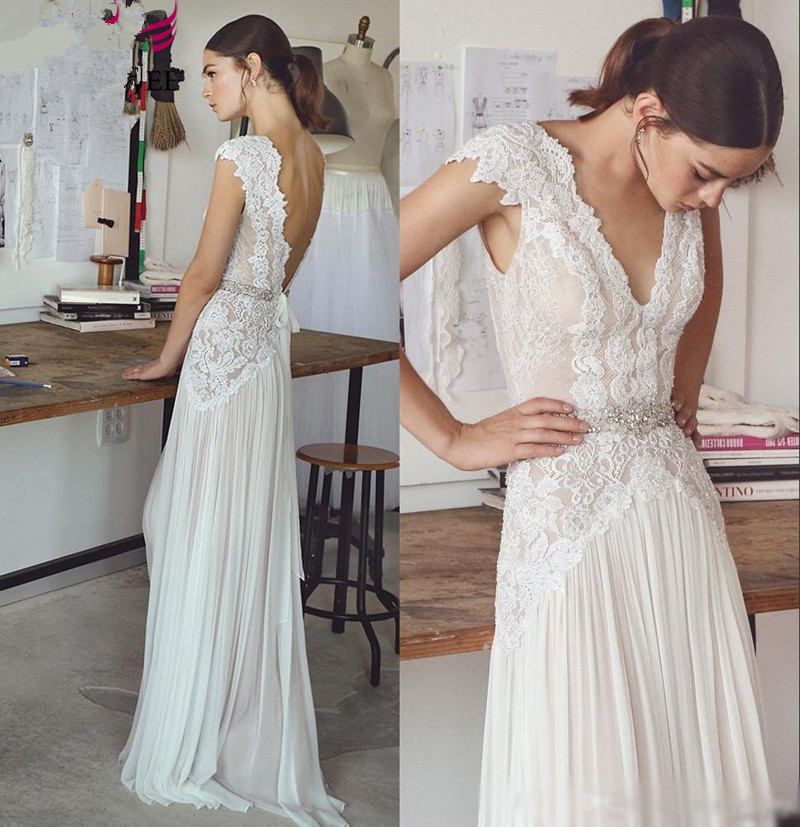 Vestido De Noiva 2019 plage robe De mariée Boho longue ligne a dentelle en mousseline De soie dos nu arabe mariée robe De mariée robe De mariée