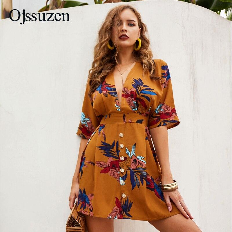 Chiffon Deep V Neck Dress Women's Summer A Line Mini Woman Beach Dresses Lace Up Loose Print Female Dress Sexy