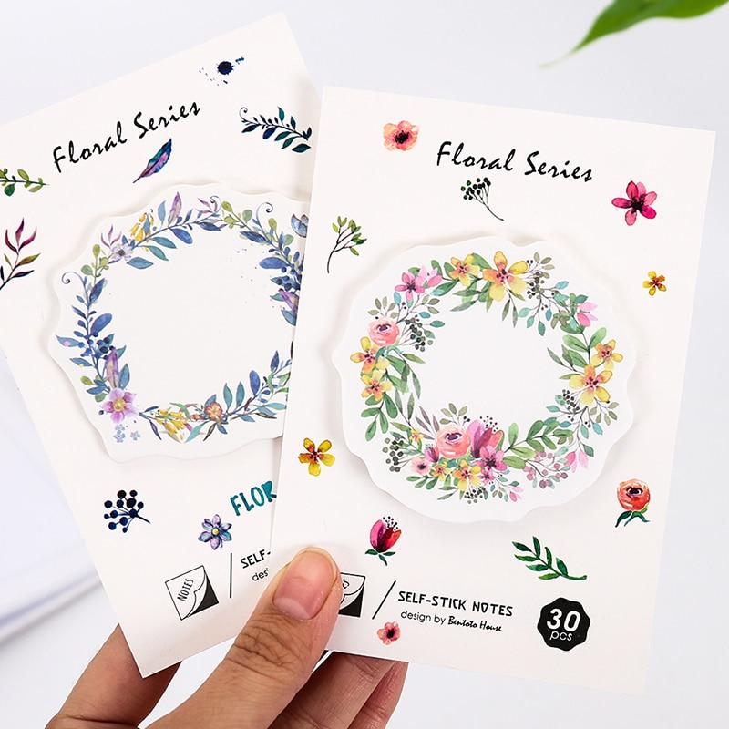 4 ком / лот цветни венац лепљиве ноте 30 - Бележнице и свеске