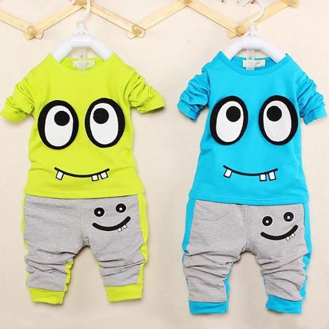 Casual primavera outono roupa dos miúdos vestuário de algodão meninos terno Set de manga comprida + calças bebê dos desenhos animados crianças roupas roupas menino vetement enfant vetement
