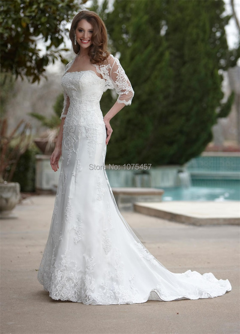 High quality the latest wedding gown buy cheap the latest wedding latest design vintage wedding gowns with jacket 2015 strapless cap sleeve bridal gown mermaid lace vestido ombrellifo Images