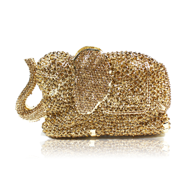 Gold Silver Evening Bag Rose Elephant Holiday Party Clutch Purse Crystal Mini Bag Stylish Day Clutches Prom Ladies Handbag luxury crystal clutch handbag women evening bag wedding party purses banquet