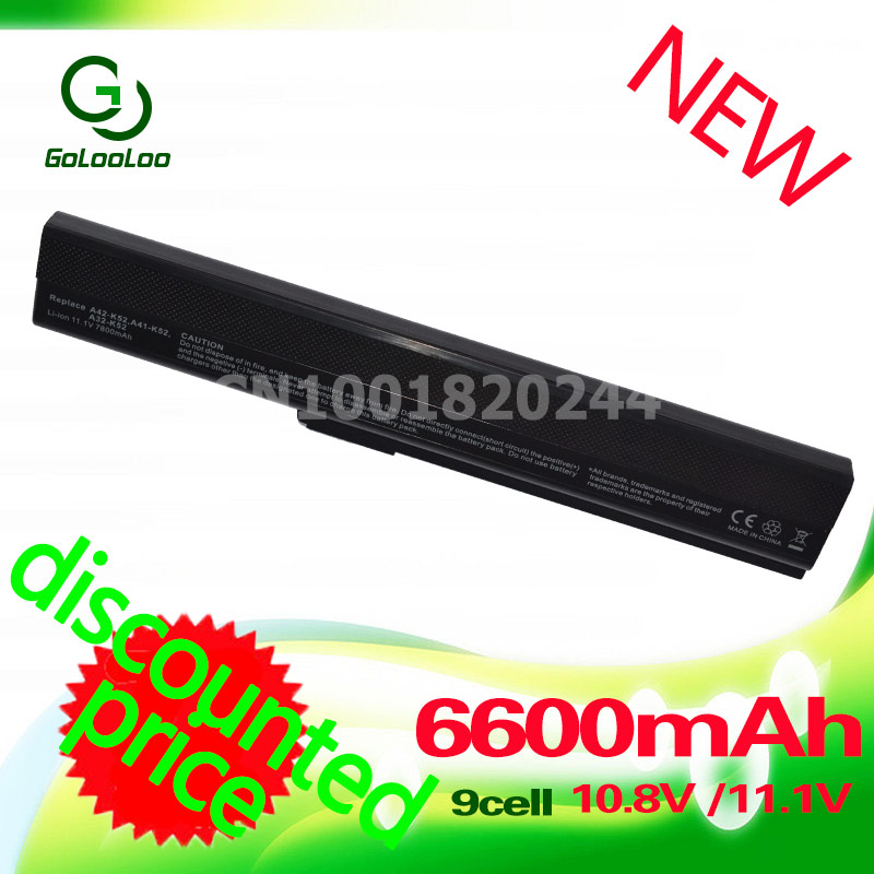 Golooloo 6600MaH laptop battery for ASUSA52j A31-B53 A31-K52 A41-K52 A42-K52 K52L681 A42f A42j A52f A52D F85 F86 k42 A32-K52 image