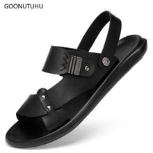 2019 new men's sandals leather black summer breathable platform shoes man casual fashion trend beach sandals for men shoe solid цены онлайн