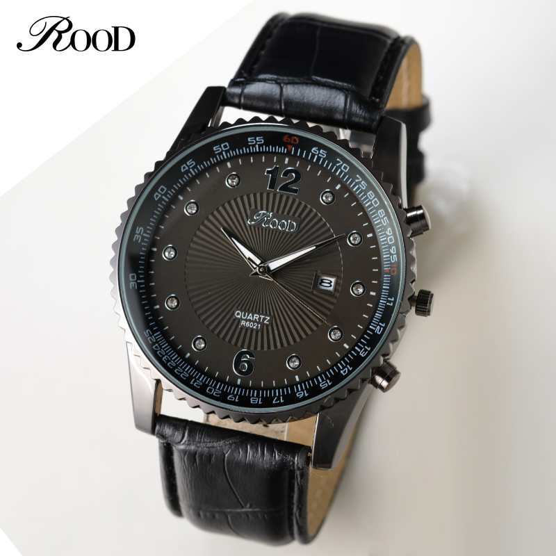 Luxury Brand ROOD Men Quartz Watches Leather Waterproof Casual Wrist watches for Man Sport Outdoor Clock