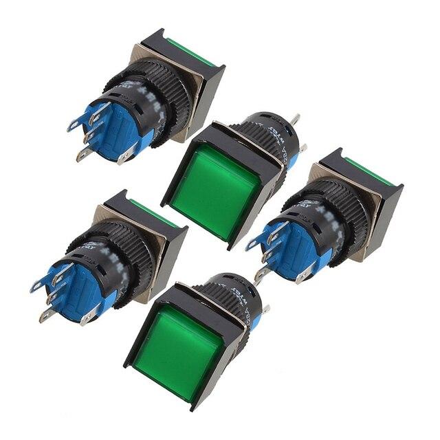 5 Pcs Green Square Cap DC 12V Light 1P2T 5 Pins Push Button Switch