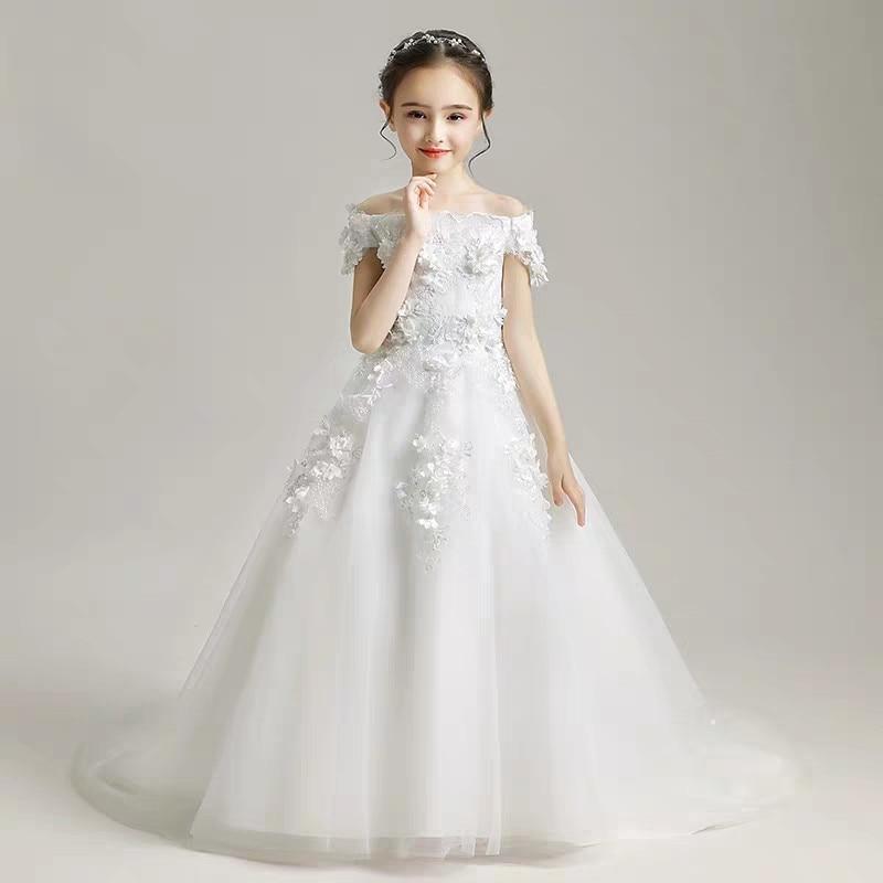 Baby Kids Elegant White Shoulderless Puffy Tulle Trailing Long Princess Dress Girls Birthday Party Wedding Kid Bridesmaid Dress