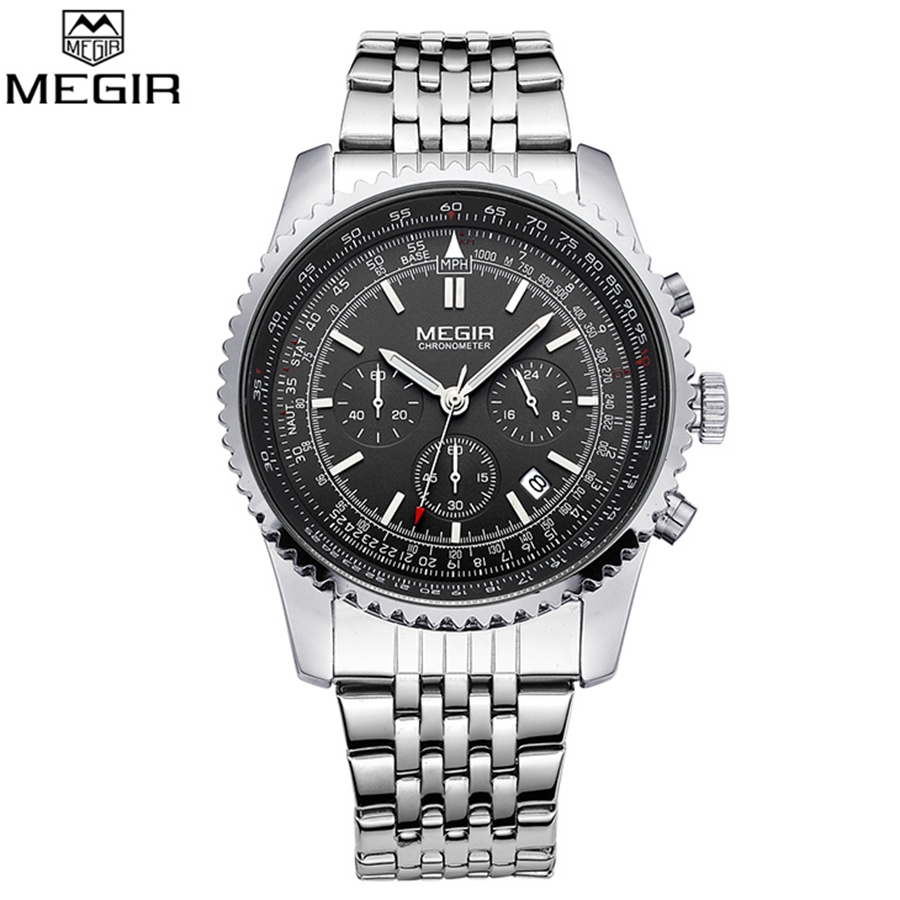 MEGIR Fashion Business Clock Luxury Watch Men Famous Brand Watches Luminous Calendar Stainless Steel Male Quartz Watch Relojes megir mens watches top brand luxury fashion business clock man famous watches stainless steel male quartz watch montre homme new