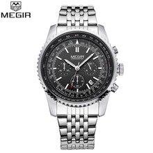 MEGIR Reloj Negocio de La Moda Hombres Del Reloj de Lujo Famosa Marca de Relojes Calendario Luminoso Reloj de Cuarzo Hombres de Acero Inoxidable Relojes