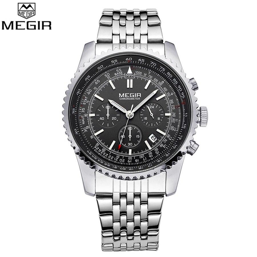MEGIR Fashion Business Clock Luxury Watch Men Famous Brand Watches Luminous Calendar Stainless Steel Male Quartz Watch Relojes