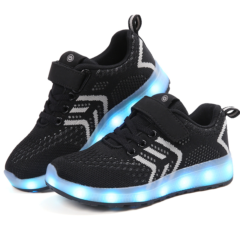 Breathable 2018 New 25-37 USB Charger Glowing Sneakers Led Children Lighting Shoes Boys/Girls illuminated Luminous Sneaker BlackBreathable 2018 New 25-37 USB Charger Glowing Sneakers Led Children Lighting Shoes Boys/Girls illuminated Luminous Sneaker Black