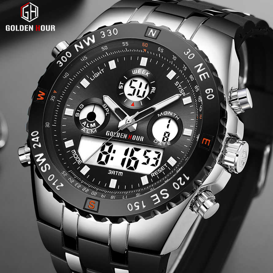 GOLDENHOUR Men Sport Watches Analog Digital Dual Display Man Fashion Outdoor Military Black Rubber Wristwatch Luminous Clock