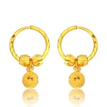 Pure 999 24K Yellow gold Sandstone Beads Hoop Earrings 4.11g