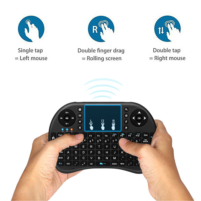 Anewkodi I8 Mini Keyboard English Russian 2.4GHz Air Mouse Remote Control Touchpad Handheld for Android TV Box Laptop Tablet