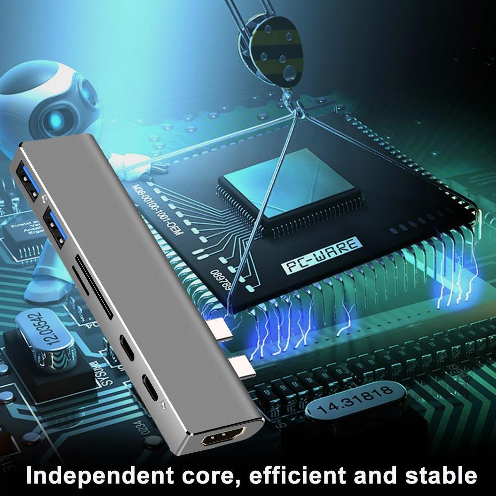 Ingelon multi usb3.0 otg usb hub USB C to HDMI 7in1 Thunderbolt 3 Adapter for MacBook Pro 13 and 15 Double Type C usb 3.0 hub (5)