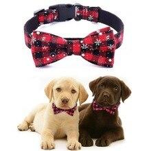 Plaid Dog Collar With Christmas Snowflake Design