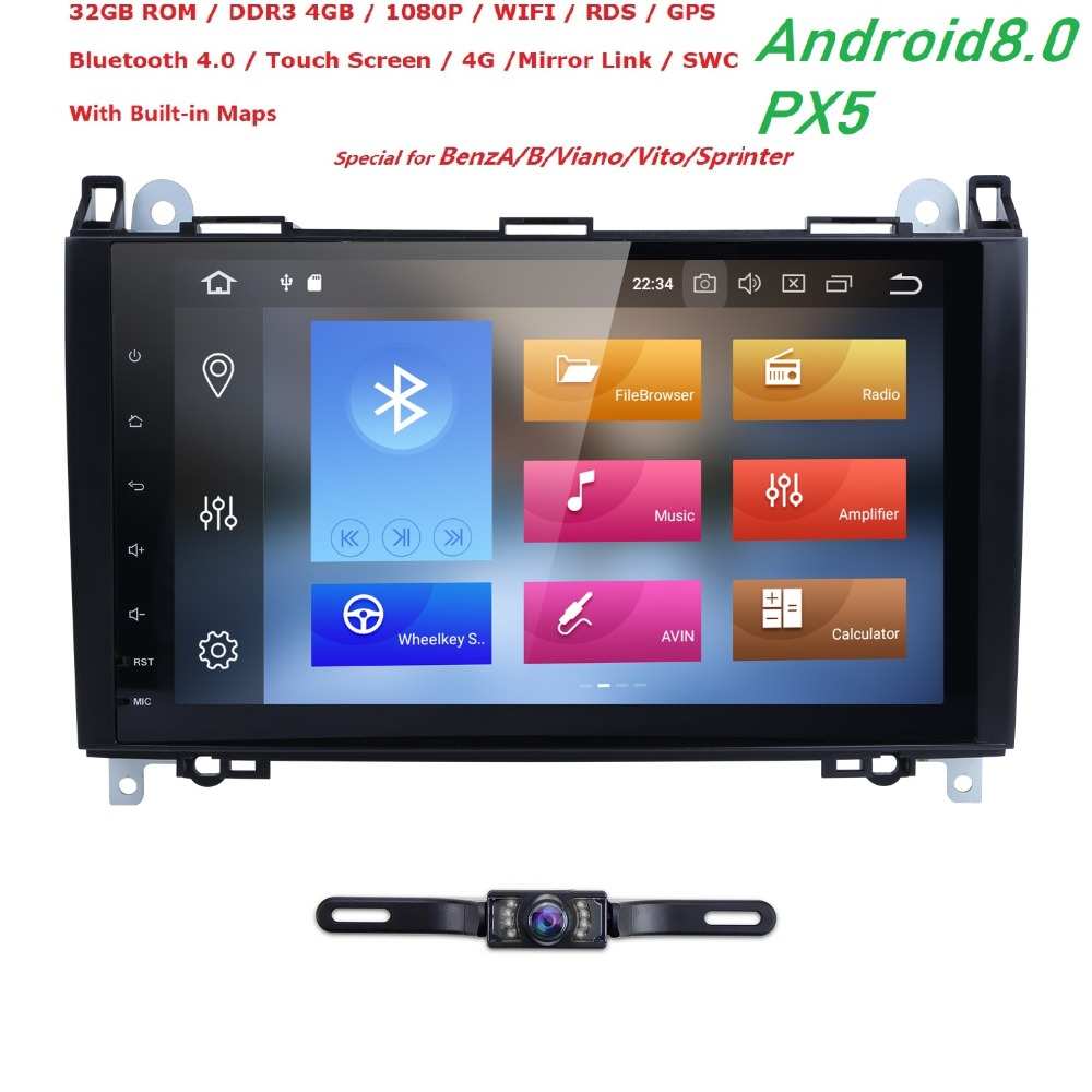 Car Multimedia Player GPS Android 8.0 PX5 4G+32G 2Din For Mercedes/Benz/Sprinter/W209/W169/Viano/Vito/B200 Rear View Camera WifiCar Multimedia Player GPS Android 8.0 PX5 4G+32G 2Din For Mercedes/Benz/Sprinter/W209/W169/Viano/Vito/B200 Rear View Camera Wifi