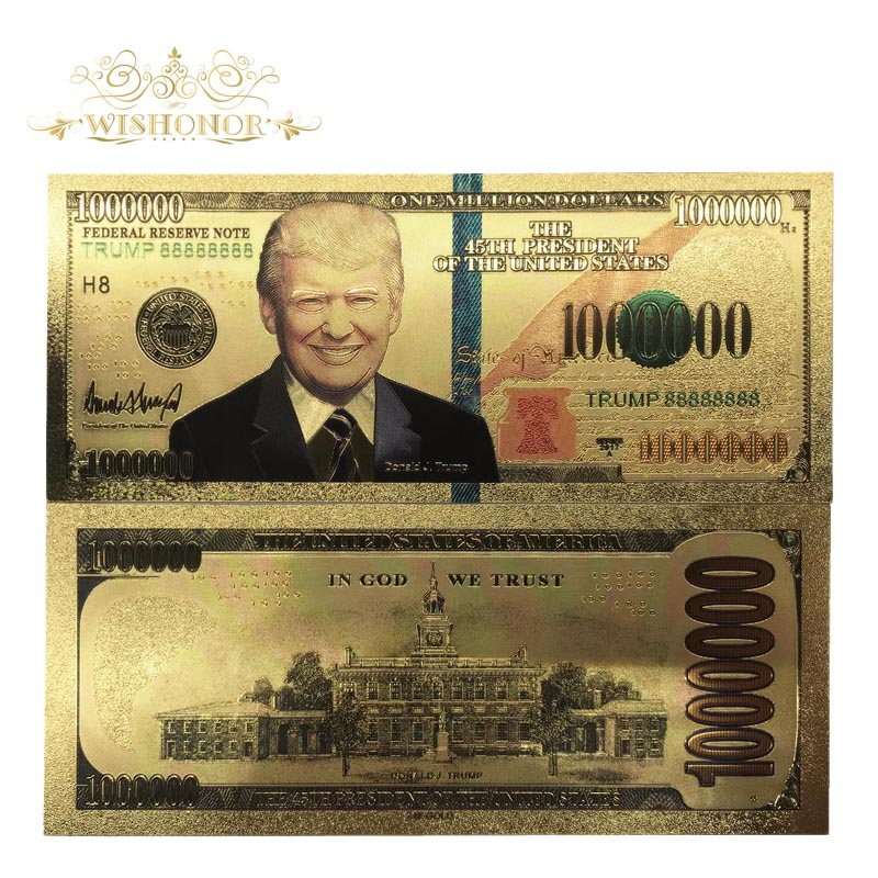 TRUMP 24K GOLD FOIL POLYCARBONATE NOVELTY NOTE! UNITED STATES $1000 DONALD J