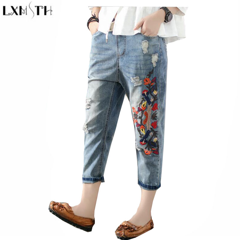 LXMSTH Original Washing Hole Denim jeans Womens Vintage Loose Woman Casual jeans With Embroidery Ankle Length Haren Pants Women lxmsth 26 40 large size women jeans 2017 new arrival hole high waist loose jeans woman casual ankle length pants ripped trousers
