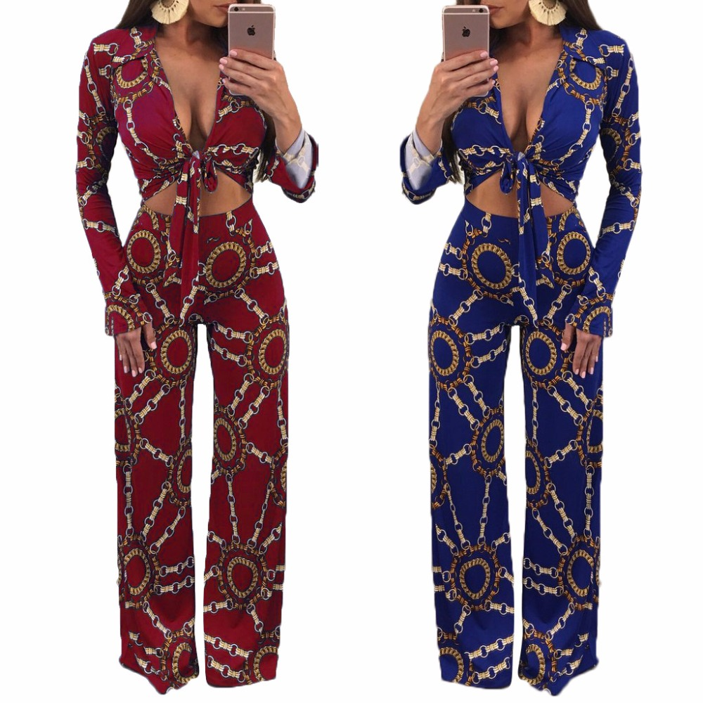 Sexy Sweat Suits Two Piece Sets Tracksuit Women Casual Long Sleeve Print Crop Tops and Full Length Wide Leg Pants 2 Pcs Outfits