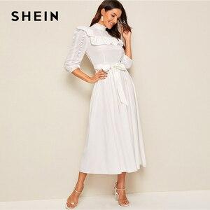 Image 2 - SHEIN Mock neck Rüschen Trim Selbst Belted Kleid Frauen Frühling Herbst Lange Kleid Fit und Flare EINE Linie Elegante reich Kleider