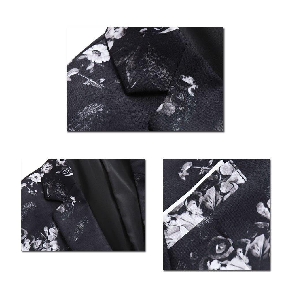 Yffushi 2018 Floral Men Suit Jacket Spring One Button White Flower