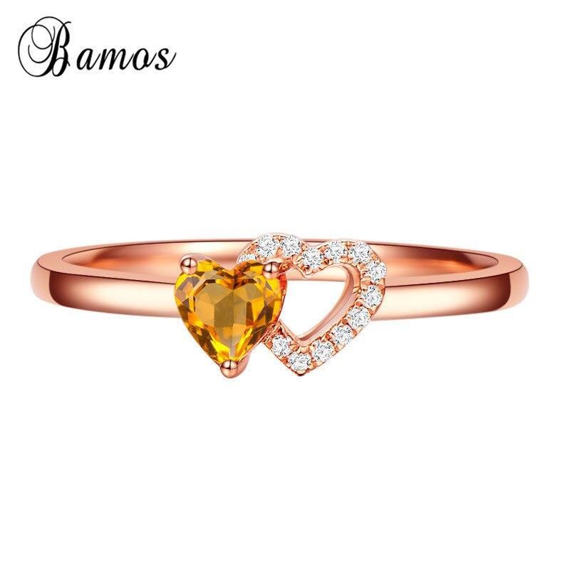 Бамос изысканный розового золота Цвет обещание Кольца для Для женщин двойное сердце кристалл Обручение кольцо обручальное кольцо минимали...