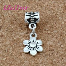 100pcs/lot Ancient silver flower Charms Big Hole Beads Fit European Charm Bracelet Jewelry 9.5mm * 25mm A-119a 100pcs lot ancient silver scissors blow dryer hair stylist charm big hole beads fit european charm bracelet jewelry 29x13 mm