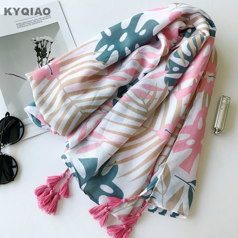 KYQIAO Women scarf 2018 Tropical leaves pattern print scarf female autumn winter Spain style boho ethnic long pink plant scarf