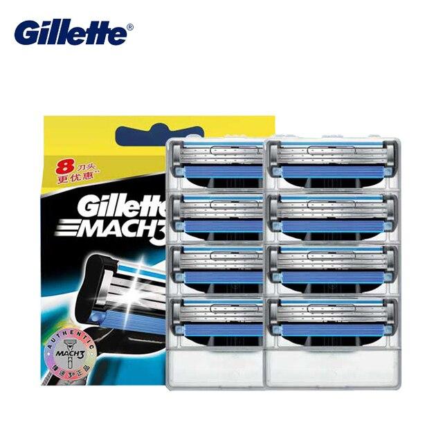 Gillette Mach 3 cuchillas de afeitar de seguridad afeitado y depilación para hombres cuidado de la cara afeitadora de afeitar hojas de 8 piezas