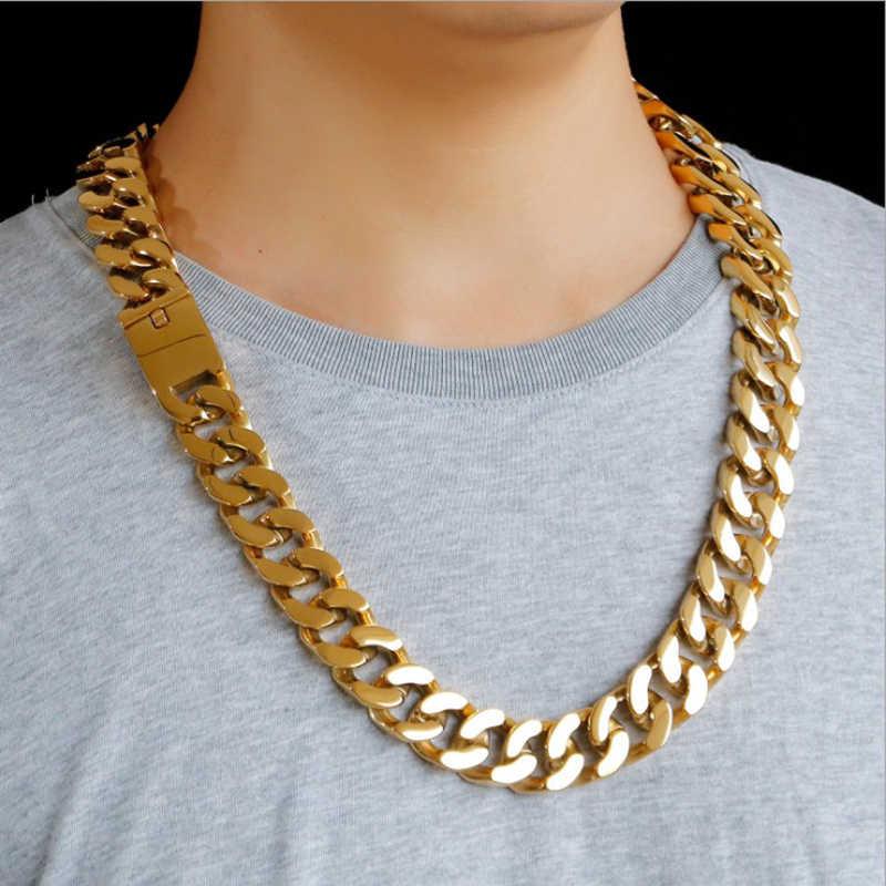 20mm szeroki złoty kolor kubański naszyjnik łańcuch srebrny ze stali nierdzewnej ciężki Chunky Curb Link Chain naszyjnik męska akcesoria