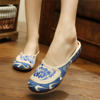 Summer Women S Orchid Pavilion Fashion National Embroidery Shoes Flip Flops Blue And White Elegant Temperament