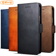 SRHE For Huawei Y6 2019 Case Cover 609'' Luxury Business Flip Silicon Leather Wallet Case For Huawei Y6 2019 With Magnet Holder