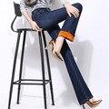 Джинсы Женщина Плюс Размер 2017 Осень Зима Плюс Бархат Утолщение Flare джинсы Высокой Талии Эластичные Тонкие Теплые Брюки Джинсовые Женщин 34