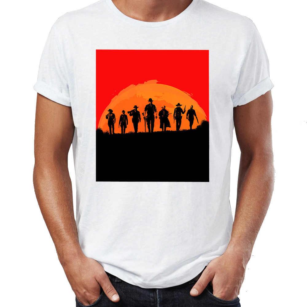 夏男性の Tシャツ赤デッド償還芸術家気取り素晴らしい印刷 Tシャツヒップホップ Tシャツ青年原宿ストリート