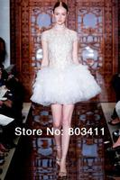 Sheer Illusion Neckline Capped Sleeve Above Knee Tulle Dinner Reception Wedding Dresses