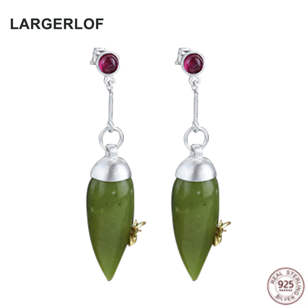 LARGERLOF Real 925 Sterling Silver Drop Earrings For Women Fashion Jewelry Handmade Peridot Earrings Women AED31001