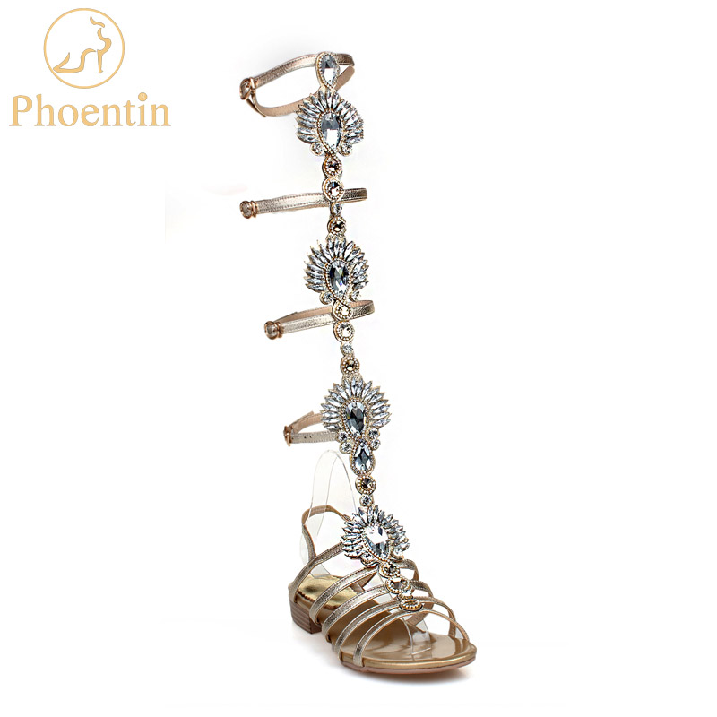 Phoentin Gold Knee High Gladiator Sandals 2018 Crystal  Summer Boots Low Heels Narrow Band Buckle Women Shoes Rome Style FT432