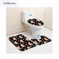 Livraison gratuite 3 pièces Banyo Paspas mignon renard Salle De Bain Tapis toilette U Type Tapis De Bain ensemble antidérapant Tapis Salle De Bain Alfombra Bano