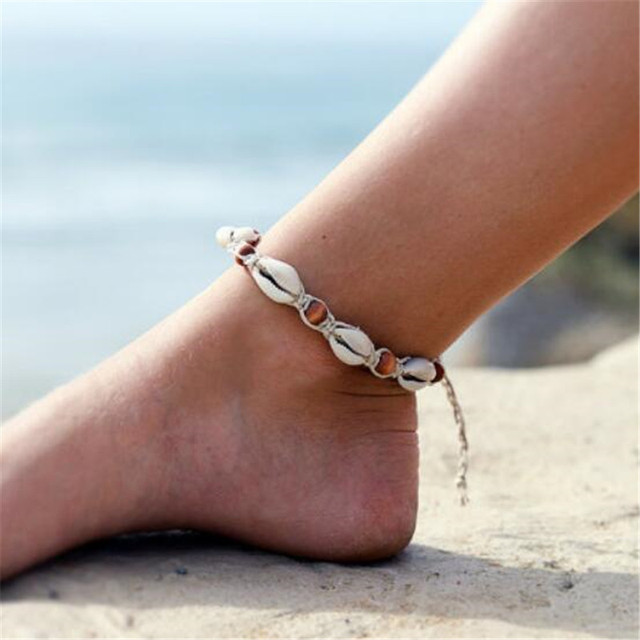 MissCyCy Vintage DIY Rope Wood Bead Leg Bracelet Bohemian Natural Shell Anklet Women Foot Jewelry Summer Beach Accessories