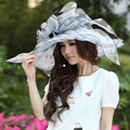 Free Shipping Women Organza Hat Church Hat Wide Brim Ruffle Flower Fashion Dress Women Accessories Fancy Girl Wedding Dress