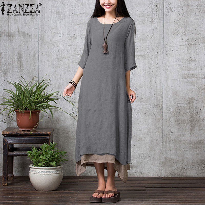 9 Colors ZANZEA 2018 Boho Style Summer Women Vintage Loose Long Dress Maxi Dress Solid 3/4 Sleeve Femininas Vestidos Plus Size