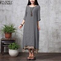 ZANZEA 2016 New Boho Style Summer Women Vintage Loose Long Maxi Dress Solid 3 4 Sleeve