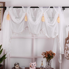 Budloom European Style Luxury Tulle Valance Curtains For Living Room Green Pink Kitchen Sheer Valances